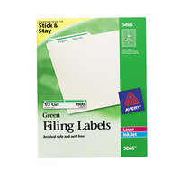 Avery 5866 TrueBlock 2/3 inch x 3 7/16 inch Green File Folder Labels - 1500/Box