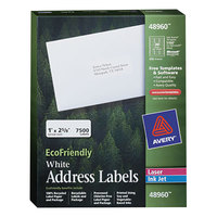 Avery 48960 EcoFriendly 1 inch x 2 5/8 inch White Easy Peel Mailing Labels - 7500/Box