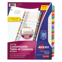 Avery 11846 31-Tab Monthly Multi-Color Customizable Table of Contents Dividers