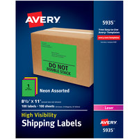 Avery 5935 8 1/2 inch x 11 inch Assorted Neon Shipping Labels - 100/Box