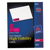 Avery 5970 1 inch x 2 5/8 inch High-Visibility Neon Magenta ID Labels - 750/Box