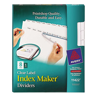 Avery 11422 Index Maker 8-Tab White Divider Set with Clear Label Strip for Copiers - 5/Pack