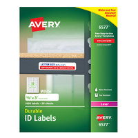 Avery 6577 5/8 inch x 3 inch White Permanent ID Labels - 1600/Pack