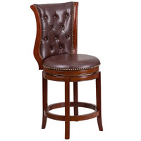 Flash Furniture TA-2301226-DC-CTR-GG Dark Chestnut Wood Counter Height Button Tufted Back Stool with Hepatic Leather Swivel Seat