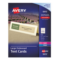 Avery 5915 3 1/2 inch x 11 inch Ivory Large Embossed Tent Cards - 50/Box