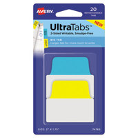 Avery 74765 Ultra Tabs 2 inch x 1 3/4 inch Assorted Primary Color Repositionable Tab - 20/Pack