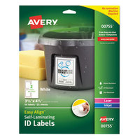 Avery 755 Easy Align 3 1/2 inch x 4 1/2 inch White Rectangular Printable Self-Laminating ID Labels - 50/Pack