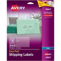 Avery 18663 Easy Peel 2 inch x 4 inch Clear Inkjet Printer Shipping Labels - 100/Pack