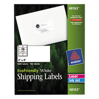 Avery 48163 EcoFriendly 2 inch x 4 inch White Easy Peel Shipping Labels - 1000/Box