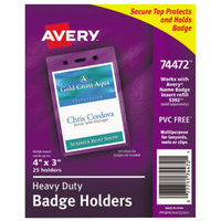 Avery 74472 4 inch x 3 inch Clear Vertical Secure Top Heavy-Duty Badge Holder - 25/Pack