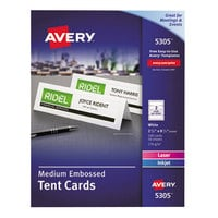 Avery 5305 2 1/2 inch x 8 1/2 inch White Medium Embossed Tent Cards - 100/Box