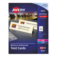 Avery 5914 2 1/2 inch x 8 1/2 inch Ivory Medium Embossed Tent Cards - 100/Box