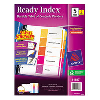 Avery 11187 Ready Index 5-Tab Multi-Color Table of Contents Divider Set - 6/Pack