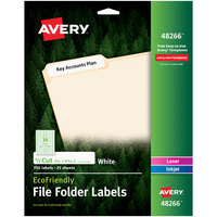 Avery 48266 EcoFriendly 2/3 inch x 3 7/16 inch White 1/3 Cut Top Tab File Folder Labels - 750/Pack