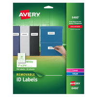 Avery 6460 1 inch x 2 5/8 inch White Removable ID Labels - 750/Pack
