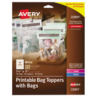 Avery 22801 1 3/4 inch x 5 inch White Printable Bag Toppers with Bags - 40/Pack