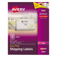 Avery 5664 3 1/3 inch x 4 inch Easy Peel Clear Shipping Labels - 300/Box