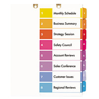 Avery 13159 Ready Index 8-Tab Multi-Color Customizable Table of Contents Dividers Set - 3/Pack