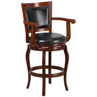 Flash Furniture TA-21259-CHY-GG Cherry Wood Bar Height Panel Back Stool with Arms and Black Leather Swivel Seat
