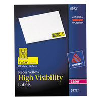 Avery 5972 1 inch x 2 5/8 inch High-Visibility Neon Yellow ID Labels - 750/Pack
