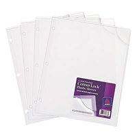 Avery 72269 Corner Lock 8 1/2 inch x 11 inch Clear 3-Hole Punched Plastic Sleeve - 4/Pack