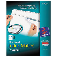 Avery 11428 Index Maker 12-Tab White Divider Set with Clear Label Strip
