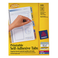 Avery 16283 1 3/4 inch Assorted Color Printable Tabs with Repositionable Adhesive - 80/Pack
