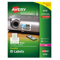 Avery 6576 1 1/4 inch x 1 3/4 inch White Permanent ID Labels - 1600/Pack