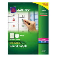 Avery 6450 1 inch Round White Removable ID Labels - 945/Pack