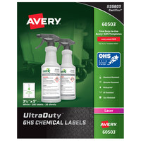 Avery 60503 UltraDuty 3 1/2 inch x 5 inch GHS Chemical Labels for Laser Printers - 200/Box