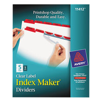 Avery 11412 Index Maker 5-Tab Red Divider Set with Clear Label Strips - 5/Pack