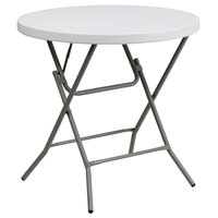 Flash Furniture DAD-YCZ-80R-GW-GG 32 inch Round Granite White Plastic Folding Table