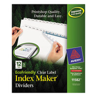 Avery 11582 EcoFriendly Index Maker 12-Tab White Divider Set with Clear Label Strips - 5/Pack