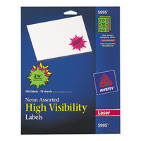 Avery 5995 2 1/4 inch Assorted Neon Color High-Visibility ID Label Bursts - 180/Pack