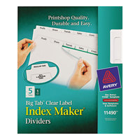 Avery 11490 Big Tab Index Maker 5-Tab Divider Set with Clear Label Strip