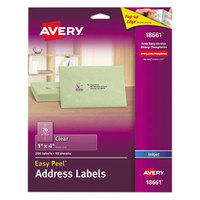 Avery 18661 Easy Peel 1 inch x 4 inch Clear Inkjet Printer Address Labels - 200/Pack