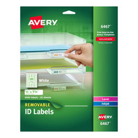 Avery 6467 1/2 inch x 1 3/4 inch White Removable ID Labels - 2000/Pack