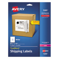 Avery 5265 TrueBlock 8 1/2 inch x 11 inch White Shipping Labels - 25/Pack