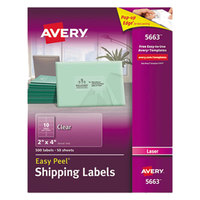 Avery 5663 2 inch x 4 inch Easy Peel Clear Shipping Labels - 500/Box
