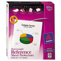 Avery 74401 8 1/2 inch x 11 inch Nonglare Heavyweight Top-Load Sheet Protector, Letter - 200/Box