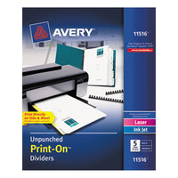 Avery 11516 Print-On 5-Tab Unpunched White Divider Set - 5/Pack