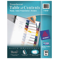 Avery 11818 Ready Index 10-Tab Multi-Color Plastic Table of Contents Dividers