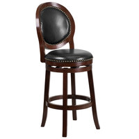 Flash Furniture TA-550130-CA-GG Cappuccino Wood Bar Height Oval Back Stool with Black Leather Swivel Seat