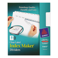 Avery 11417 Index Maker 8-Tab White Divider Set with Clear Label Strip