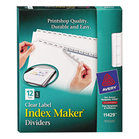 Avery 11429 Index Maker 12-Tab White Divider Set with Clear Label Strip - 5/Pack
