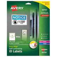 Avery 754 Easy Align 5 inch x 7 1/2 inch White Rectangular Printable Self-Laminating ID Labels - 25/Pack