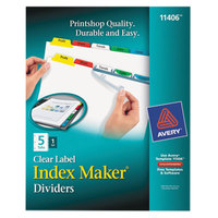 Avery 11406 Index Maker 5-Tab Multi-Color Divider Set with Clear Label Strips