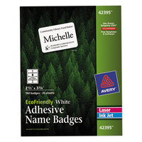 Avery 42395 2 1/3 inch x 3 3/8 inch Ecofriendly White Adhesive Name Badge Labels - 160/Pack
