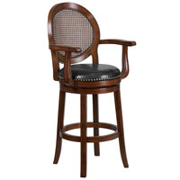 Flash Furniture TA-550430-E-GG Expresso Bar Height Woven Rattan Back Stool with Black Leather Swivel Seat