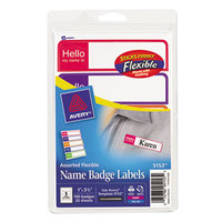Avery 5153 1 inch x 3 3/4 inch Bright Color Assortment Hello Flexible Self-Adhesive Mini Badge Label - 100/Pack
